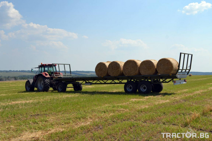 Ремаркета и цистерни Ремарке платформа Кобзаренко за превоз на слама и рулонни бали ПП-12/3 4 - Трактор БГ
