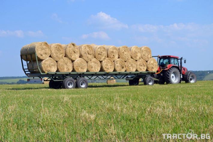 Ремаркета и цистерни Ремарке платформа Кобзаренко за превоз на слама и рулонни бали ПП-12/3 6 - Трактор БГ